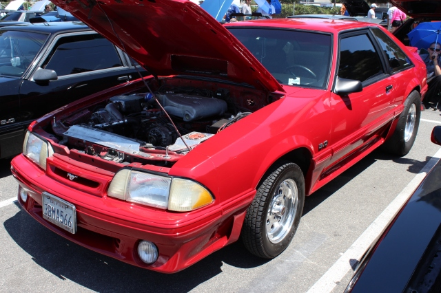 Red Vortech V-3 Supercharged Fox Body Mustang GT
