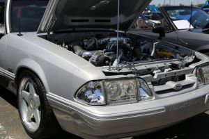 Silver Paxton NOVI 2000 Supercharged Fox Body Mustang