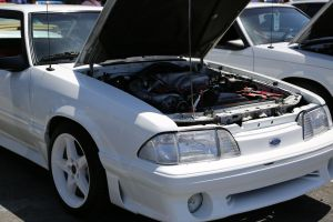White Vortech V-2 Supercharged Fox Body Mustang GT