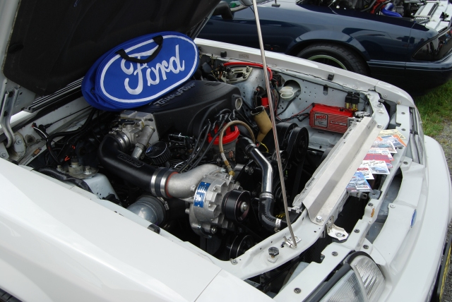 White Vortech V-2 Supercharged Fox Body