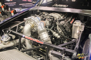 "Creations n' Chrome's Wild V-7 JT Supercharged ""Top Notch"" Fox Body Mustang in K&N's Booth"