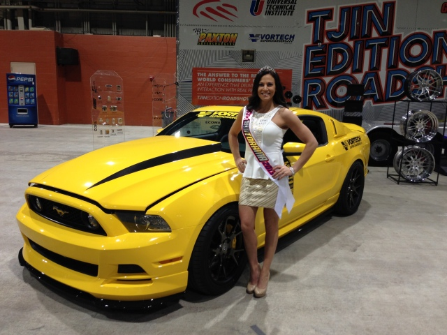 Miss Motorama loves the Vortech Yellow Jacket Mustang