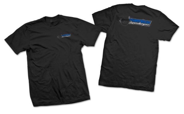 "Vortech Superchargers ""Inline"" Design 3-Color on Black T-Shirt"