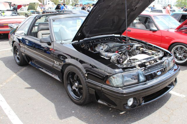Black Vortech V-1 Supercharged T-Top Fox Body Mustang