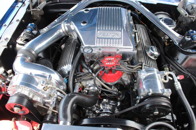 Blue Paxton NOVI 1200 Supercharged Carbureted Mustang
