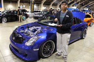 """Fab with his """"Hottest Supercharged Setup"""" trophy next to his Vortech V-3 Supercharged G35 Coupe"""